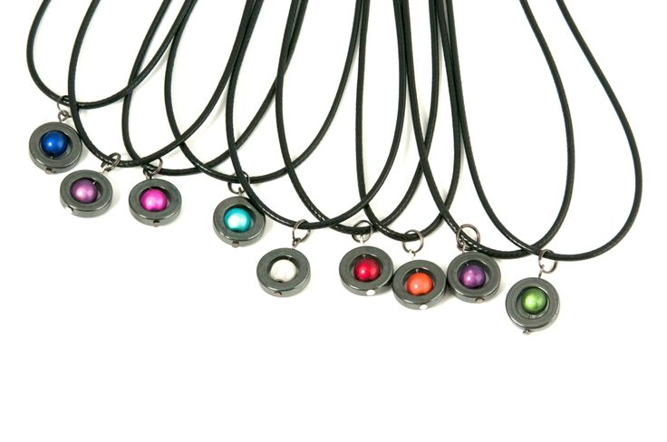 All of the colors the Caramelle necklaces, rings, and bracelets are available in.