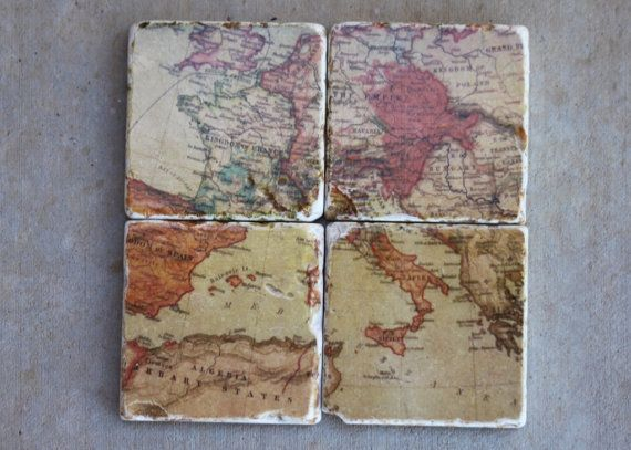 etsy: Crafts Ideas, Globes And Maps, Vintage Maps, Decoupage Vintage, Old Maps, Neat Ideas, Maps Coasters, Vintage Style, Vintage World Maps