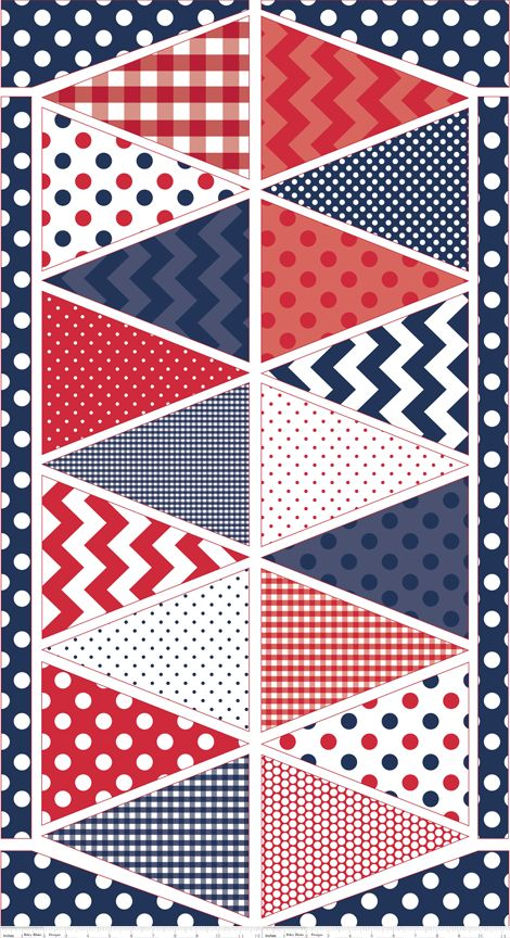 """Patriotic Blue Holiday Banner Panel by Riley Blake Designs features a 23"""" x 44"""" panel. Collection: Holiday Banners Designer: Riley Blake Designs Manufacturer: Riley Blake Designs Piece Count: One Pane"""