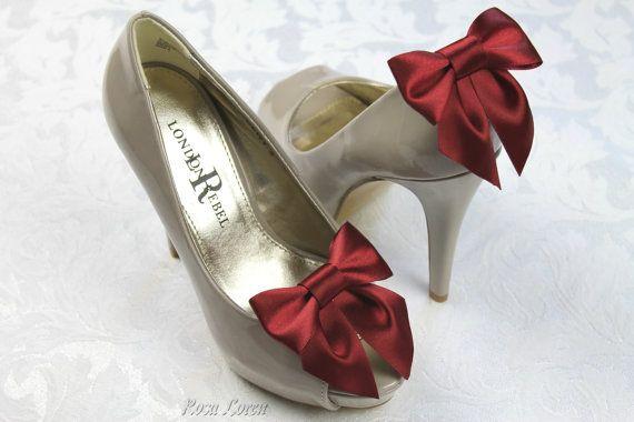 Dark Red Shoe Clip Dark Red Bow Shoe Clips by BouquetByRosaLoren, $15.00