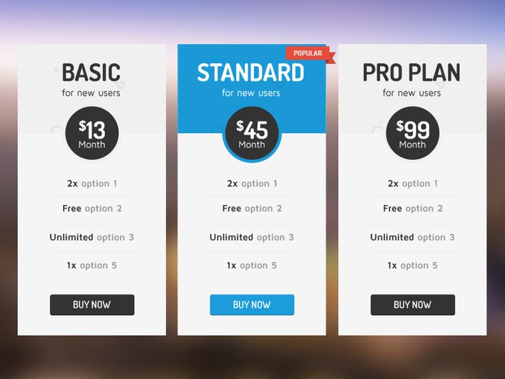 Best Pricing Table Images On   Pricing Table Website