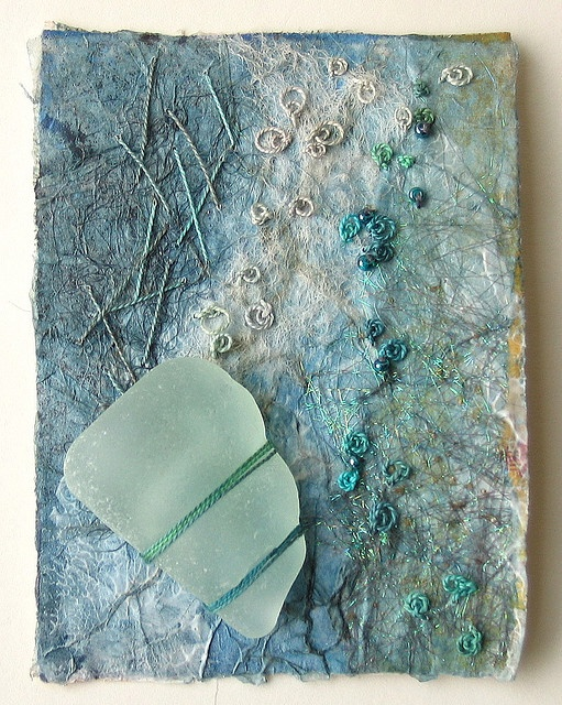 GORGEOUS!! A lovely piece of sea glass from the neck of a bottle. Helen Smith ACEO: Seashore 28 =)