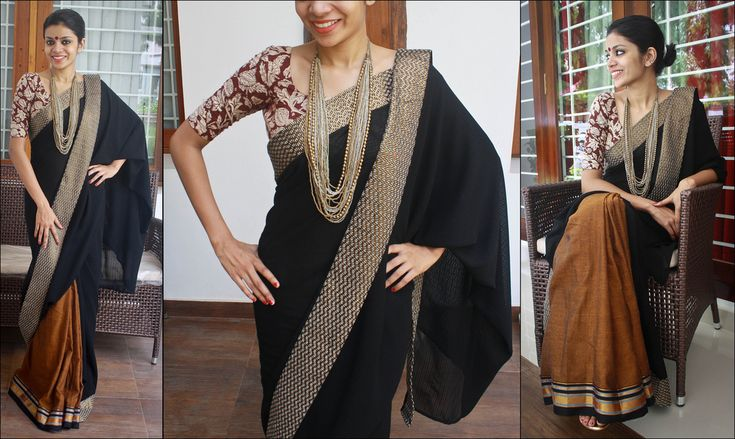 https://flic.kr/p/9WUk2K | Z 19 | Rs.  3750 Black semi chiffon and mangalgiri cotton saree. Border- Creme, black and copper Blouse-fabric- Kalamkari If sold, orders can be taken for more pieces. (the bottom cotton part will be different)