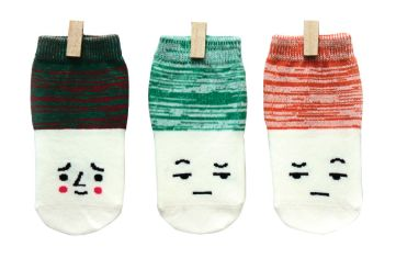 Petites Pattes - Faces Socks in Red & Green
