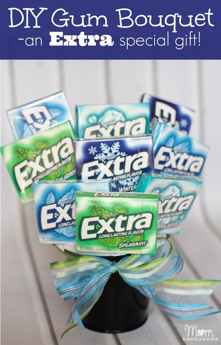 """DIY Gum Bouquet as an """"Extra"""" special gift - via momendeavors.com"""