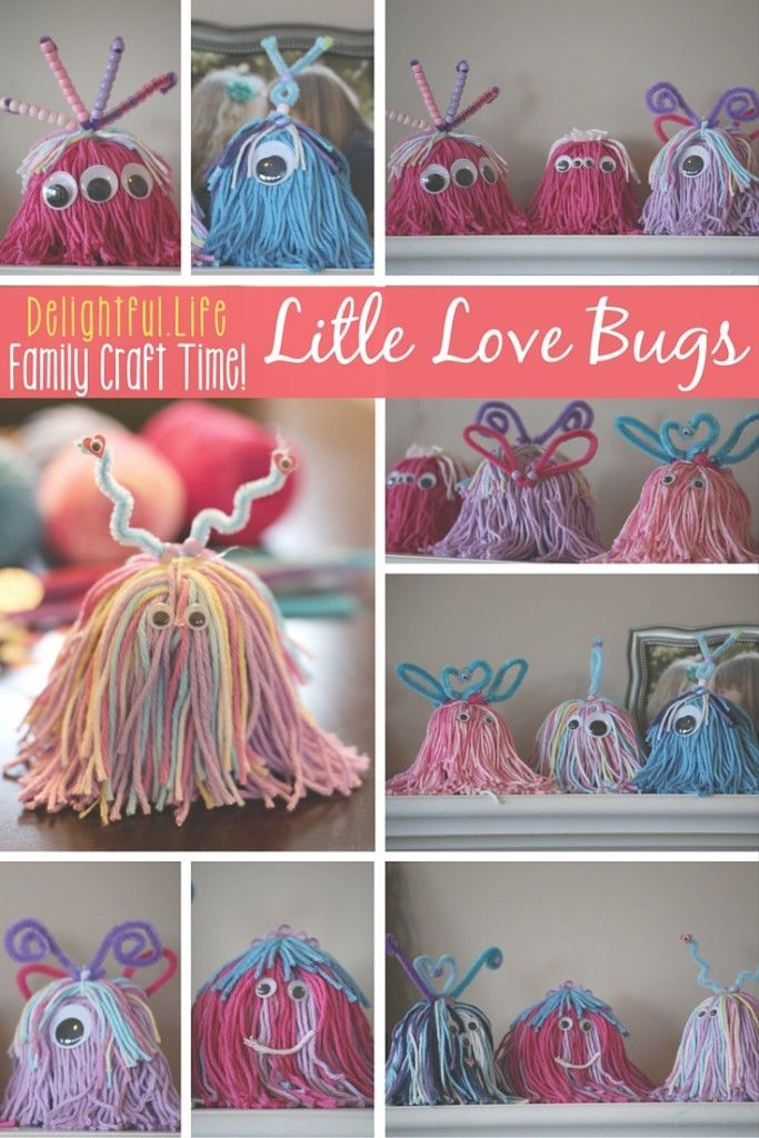 LITTLE LOVE BUGS? LOVELY LITTLE MONSTERS?  We couldn't decide what to call them, but we couldn't stop making these charming little critters! This is such a fun craft idea for the entire family. Some yarn and a few decorations and you've got yourself the p