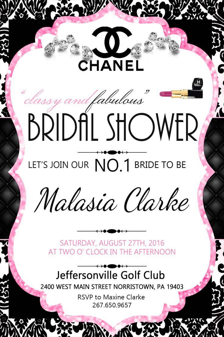 chanel bridal shower invitations chanel baby shower invitations chanel bridal…