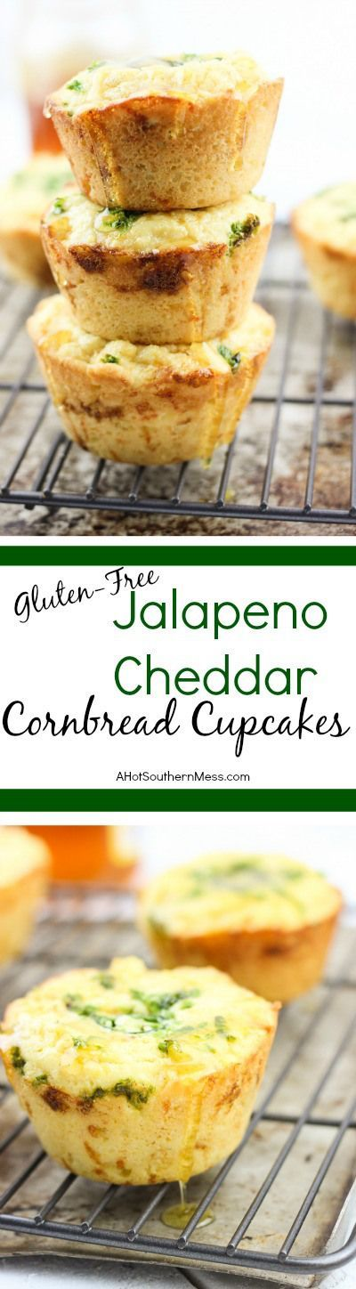 These gluten-free jalapeno cheddar cornbread cupcakes are very quick and easy to put together. The jalapeno adds some spice, the cheddar some heartiness, and the honey drizzle some sweet to finish it off. A delicious side dish to any meal that needs to warm you up and keep your belly happy. www.ahotsouthernm...