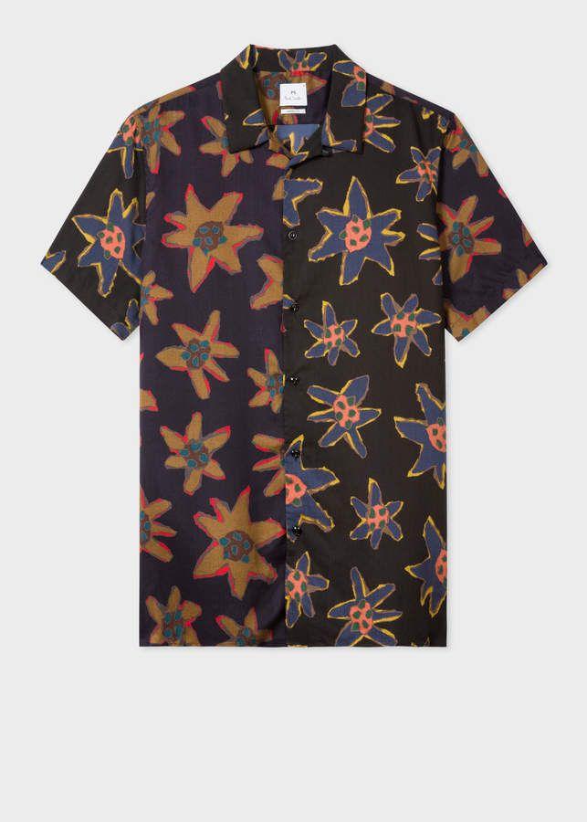 3e67e8db Ps Paul Smith Men's Classic-Fit Black 'Torn Floral' Print Short-Sleeve Shirt