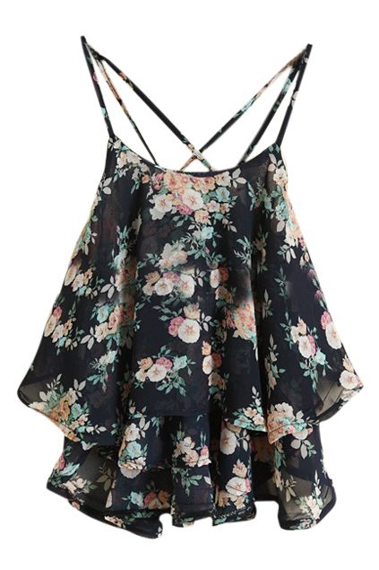 http://www.romwe.com/ROMWE-Straps-Flouncing-Floral-Print-Cute-Black-Vest(18.9900)-p-84877.html?Pinterest=fyerflys ROMWE Straps Flouncing Floral Print Cute Black Vest, The Latest Street Fashion