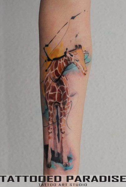 Giraffe watercolor tattoo