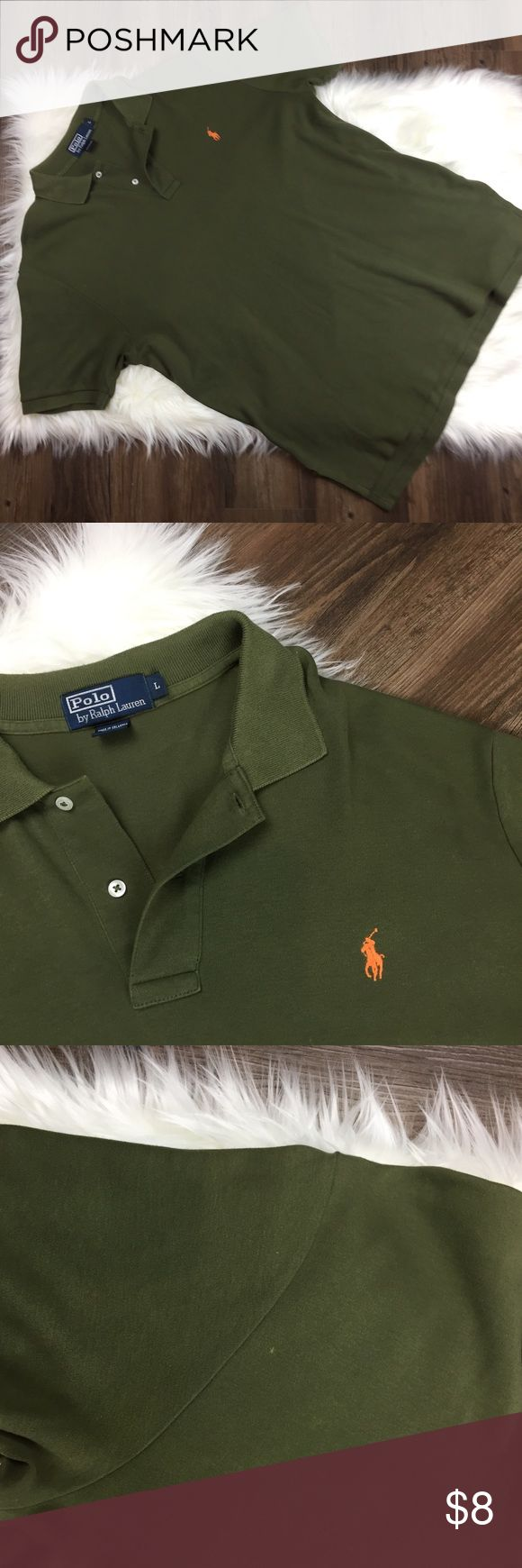 Polo Ralph Lauren Green Men's Shirt Great condition other than two things. One small speak (see 3rd picture) & on both sides my husband cut the sewing so that it would fit more loose on him. Neither is noticeable. Polo by Ralph Lauren Shirts