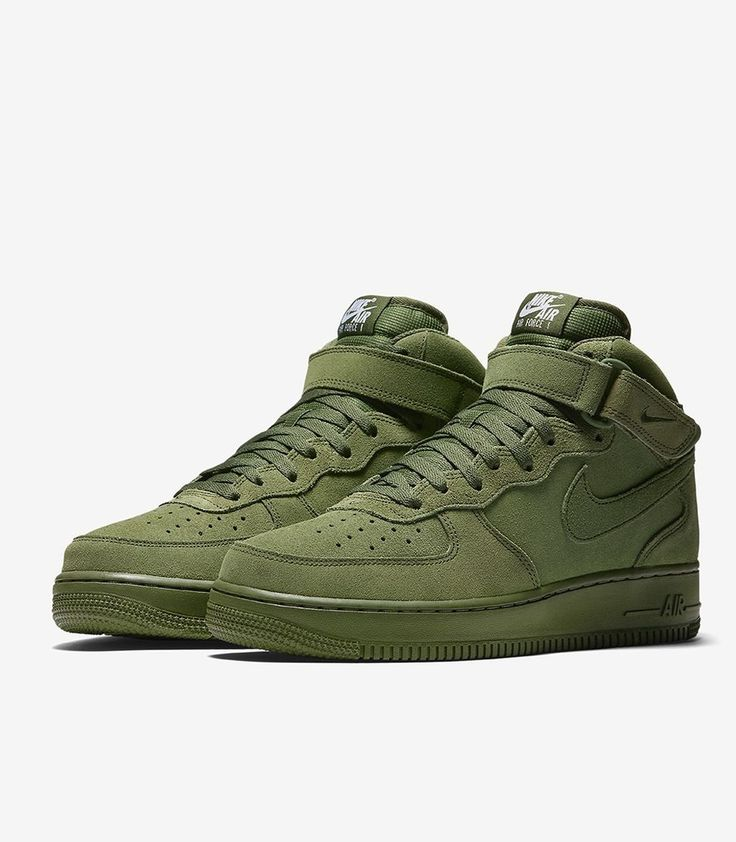 mens nike khaki air force 1 mid trainers