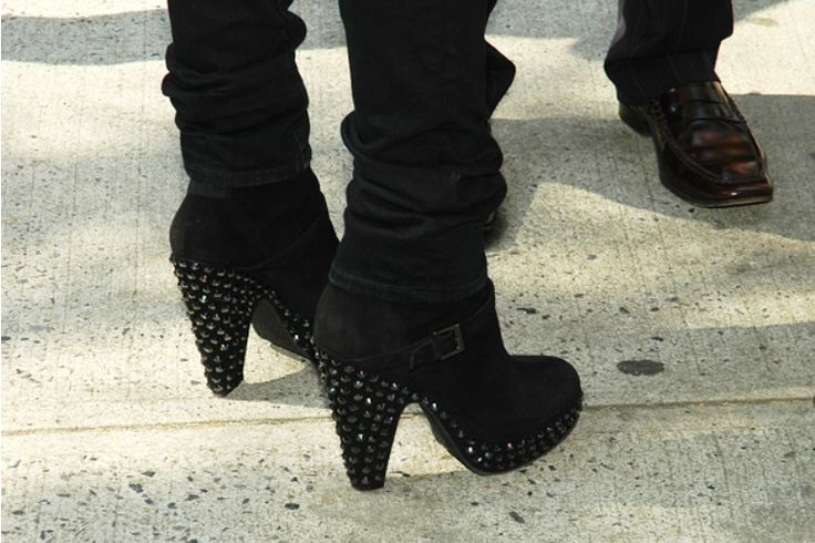 Studded boots by Balmain on Kate Lanphear