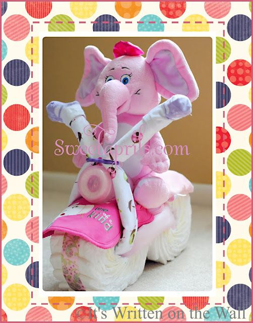 {Tutorial} Pink Elephant Motorcycle Diaper Cake, Baby Shower Gift