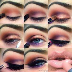 Purple peach eye makeup step by step tutorial #evatornadoblog #howto #stepbystep