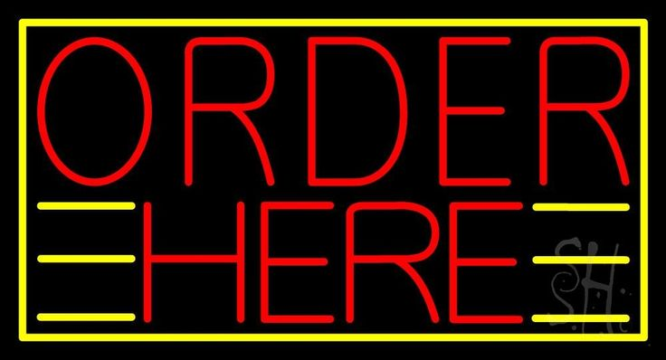 Red Order Here With Yellow Border Neon Sign 20 Tall x 37 Wide x 3 Deep, is 100% Handcrafted with Real Glass Tube Neon Sign. !!! Made in USA !!!  Colors on the sign are Red And Yellow. Red Order Here With Yellow Border Neon Sign is high impact, eye catching, real glass tube neon sign. This characteristic glow can attract customers like nothing else, virtually burning your identity into the minds of potential and future customers.