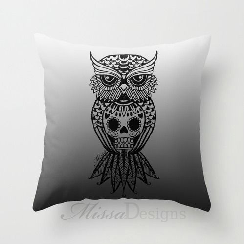 'Sugar Skull Hootle' cushion cover design. Colourway: Grey Ombre with black owl. Design by Missa Designs. Copyright 2013 - Follow Missa Designs on FB: www.facebook.com/MissaDesignsFabric