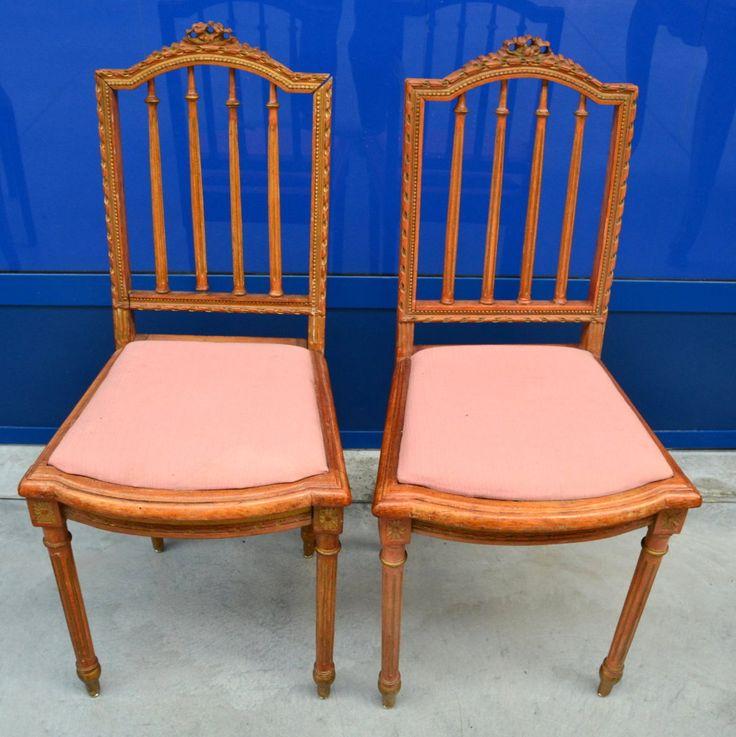Coppia di sedie '800 Napoleone III laccate d'epoca e scolpite con fiocco
