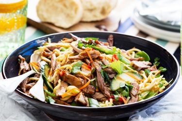 Duck and noodle salad with hoisin dressing