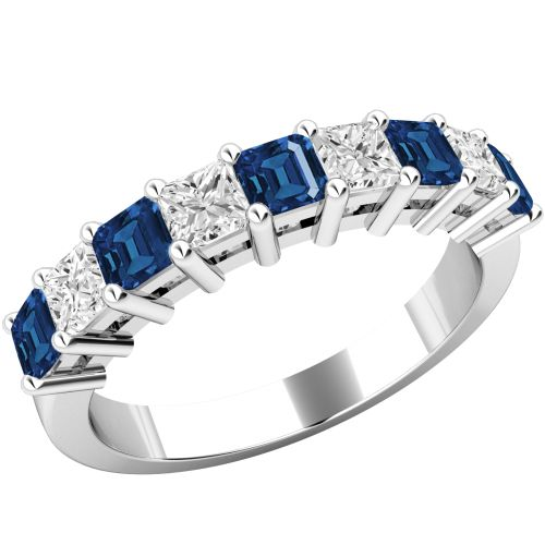 A beautiful sapphire & diamond eternity ring in 18ct white gold