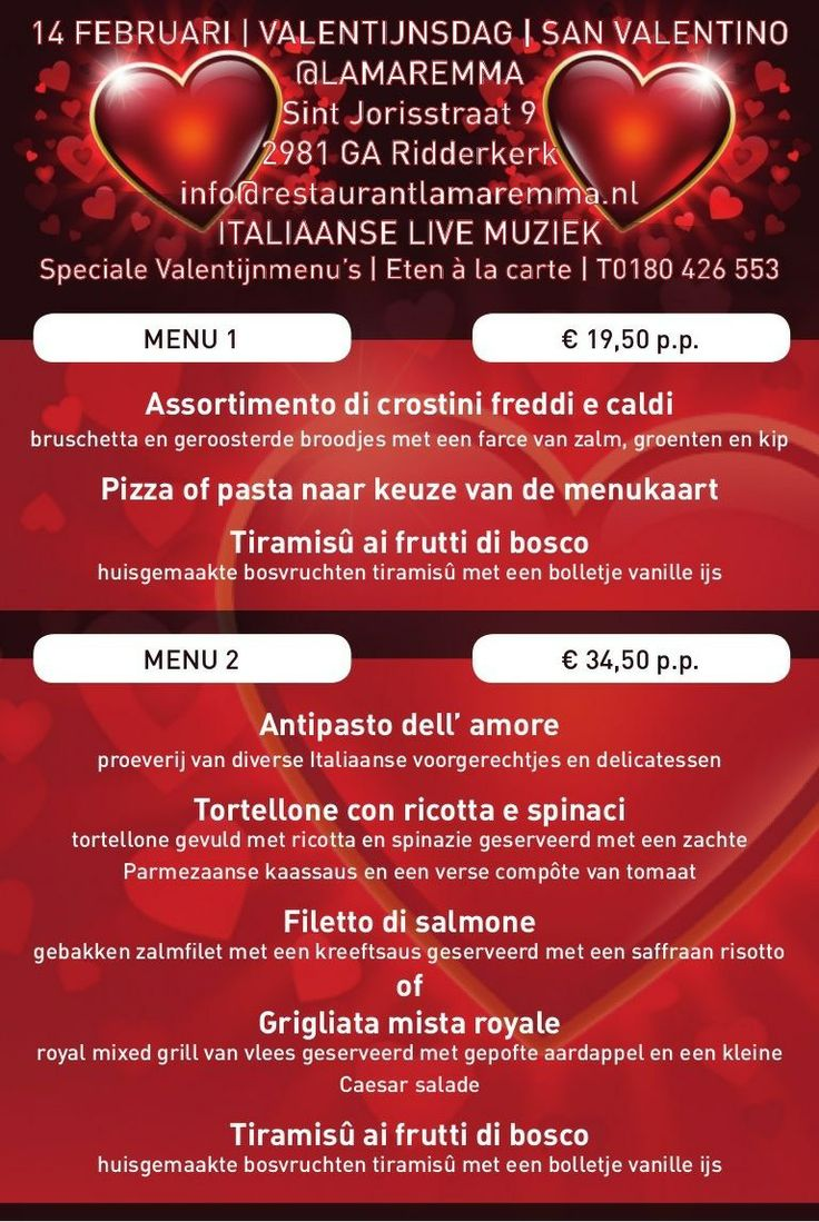 Dineren in Italiaanse Valentijnsferen bij Ristorante Pizzeria La Maremma, Sint Jorisstraat 9, 2981 GA  Ridderkerk  T 0180 426 553   E info@restaurantlamaremma.nl   www.restaurantlamaremma.nl