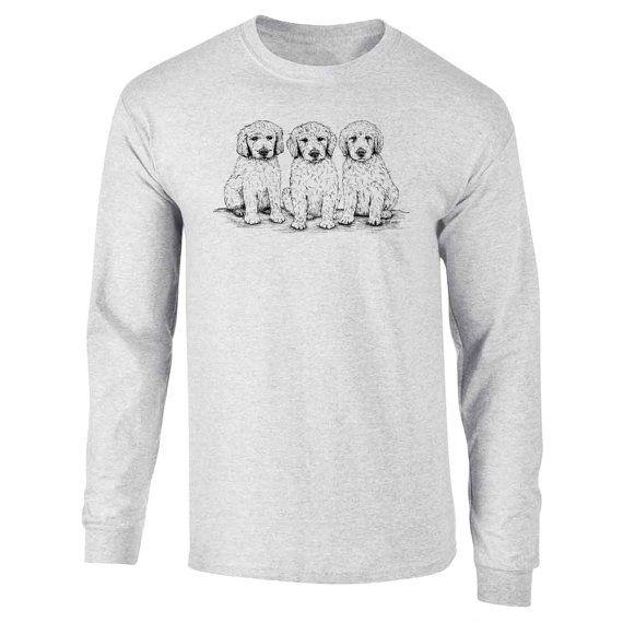 Longsleeve Golden Doodle Puppies Dog Art T-Shirt by artbyljgrove