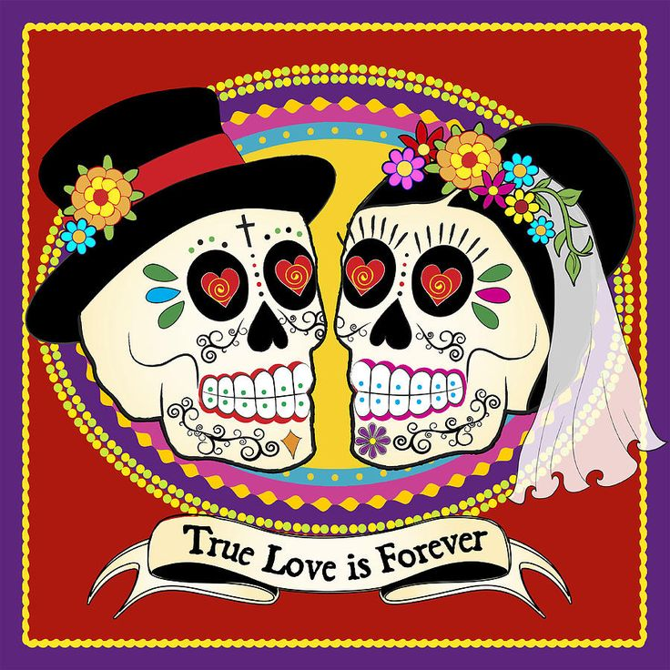 Los Novios Sugar Skulls Drawing