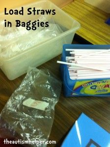Load Straws in Baggies Work Task {baggies are all labeled with different numbers}