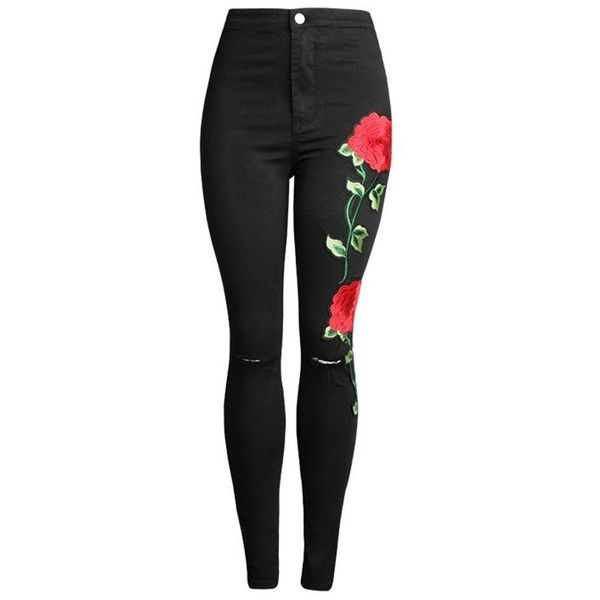 Women's Red Rose Embroidery Stretchy Torn Skinny Jeans Black Plus Size found on Polyvore featuring pants