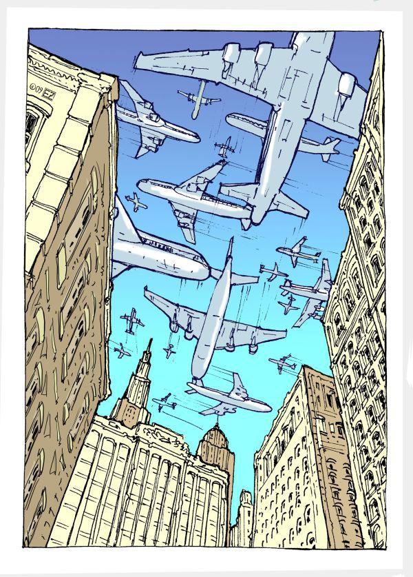 Air Traffic Density and Distribution © Eric Zahn #illustration