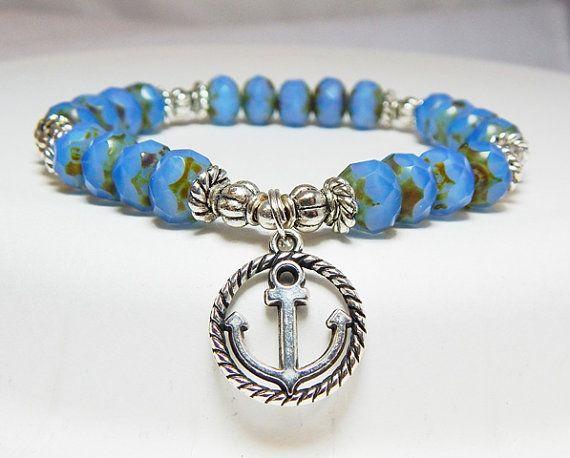 Nautische armband, anker bedelarmband, Oceaan Inspired Jewelry, varen armband, Ocean Jewelry, anker sieraden, blauwe armband