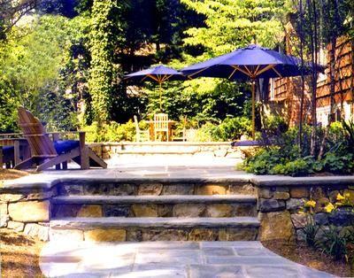 Bluestone Patio With Two Levels. Stone Is Set In Concrete. Beautiful  Bluestone Steps Are