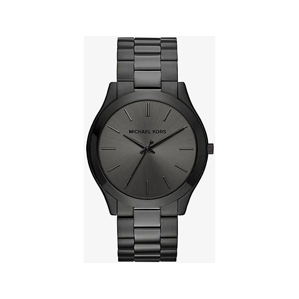 Michael Kors Michael Kors Slim Runway Black-Tone Stainless Steel Watch (6,455 THB) ❤ liked on Polyvore featuring men's fashion, men's jewelry, men's watches, black, slim mens watches, michael kors mens watches and mens stainless steel watches