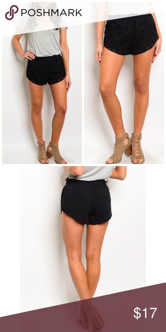 🆕 Boho Black Crochet Shorts S M L Black crochet shorts, elastic waist, 100% rayon, size small, medium, or large.  ARRIVING FRIDAY/SHIPPING SATURDAY OF NEXT WEEK!  No Trades, Price Firm unless Bundled.  BUNDLE 3 OR MORE ITEMS FOR 15 % OFF. Boutique Shorts