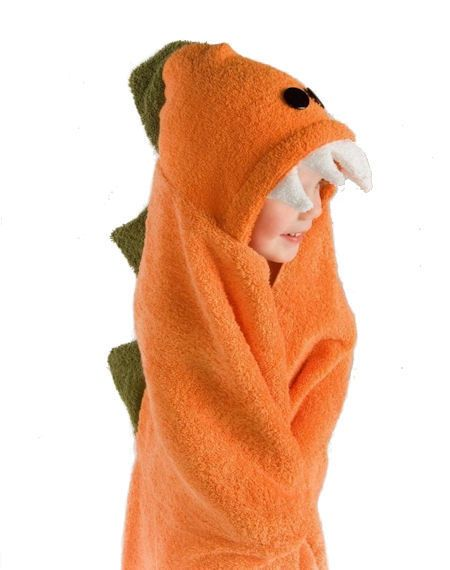 LOVE! LOOK HOW BIG AND THICK! Dinosaur Hooded Bath Towel-Dinosaur Hooded Bath Towel,childrens orange bath towel,handmade hooded towel,baby shower gift