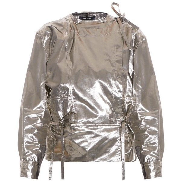 ISABEL MARANT Nestor Blouse ($950) ❤ liked on Polyvore featuring tops, blouses, metallic blouse, isabel marant top, isabel marant, brown blouse and metallic top