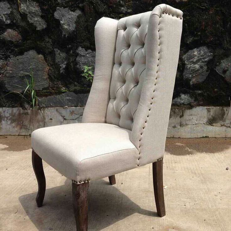 Linen Fabric Wing Back Dining Chair