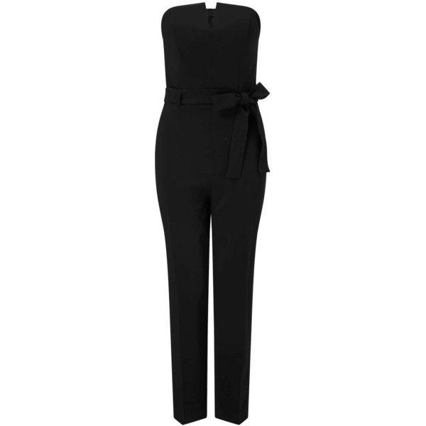 Miss Selfridge PETITE Notch Jumpsuit ($95) ❤ liked on Polyvore featuring jumpsuits, black, petite, miss selfridge jumpsuit, miss selfridge, jump suit, strapless jumpsuit and petite jumpsuit