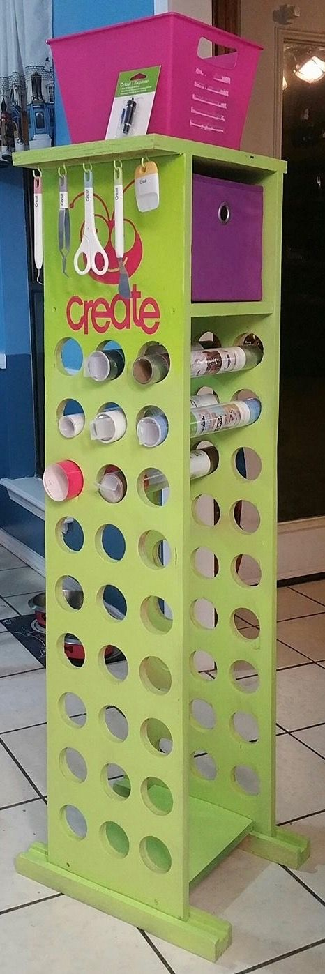 vertical vinyl storage tower with extra storage space for tools, scraps, and whatever else you want to put in the bin