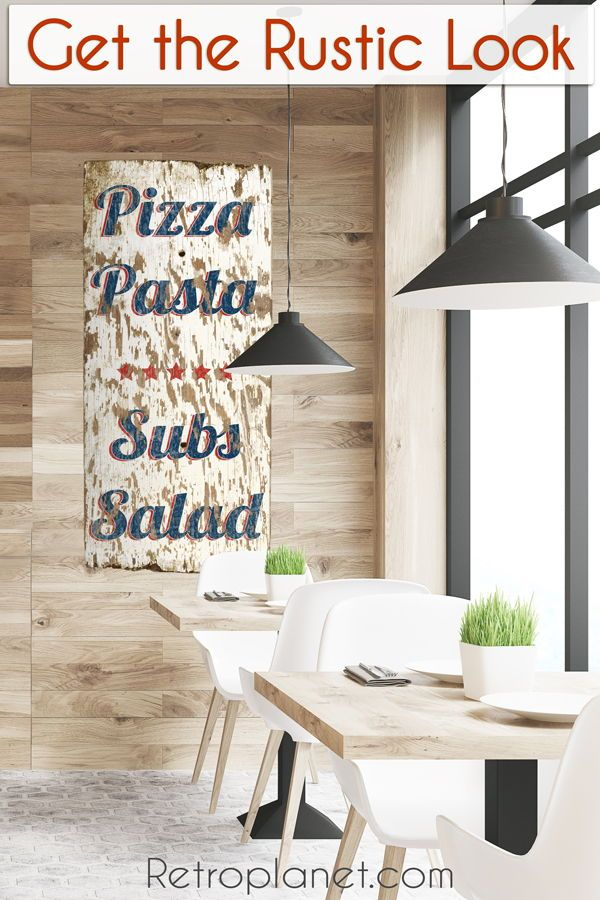 Rustic Pizza Pasta Large Metal Sign Measures 16 X 36 Inches Tall