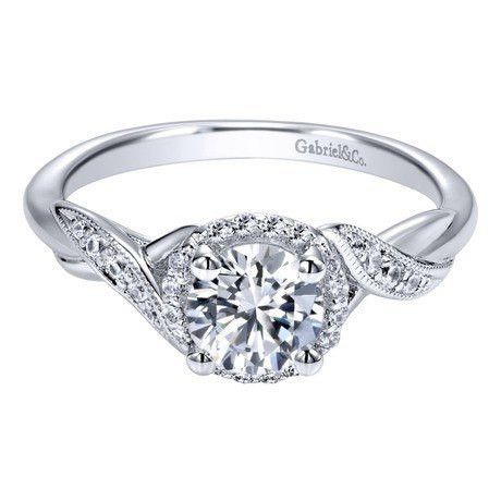 14K White Gold .90cttw Twisted Vintage Style Halo Round Diamond Engage | Mullen Jewelers