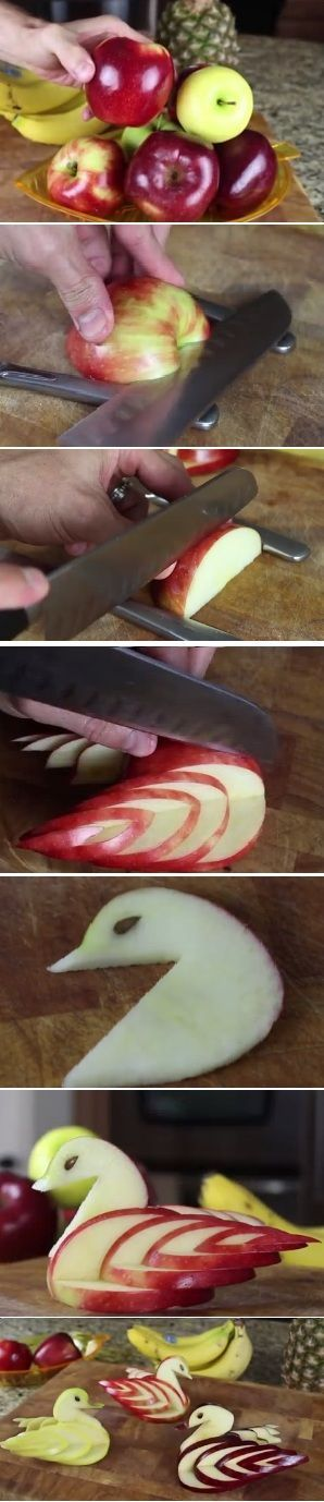 How to make an Edible Apple Swan [video]