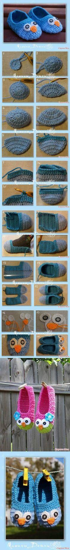 DIY Cute Crochet Owl Slippers for Kids | iCreativeIdeas.com Like Us on Facebook ==> https://www.facebook.com/icreativeideas