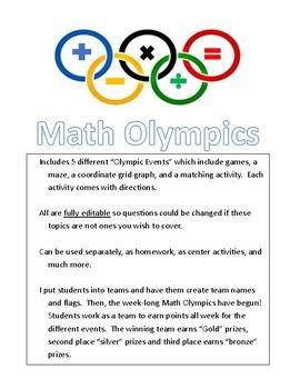 Math Olympic Games by Growing Math Minds  | Teachers Pay Teachers