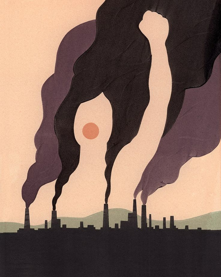 Closure. This picture is making a statement towards factories and pollution. Great use of figure/ground principle of Gestalt.