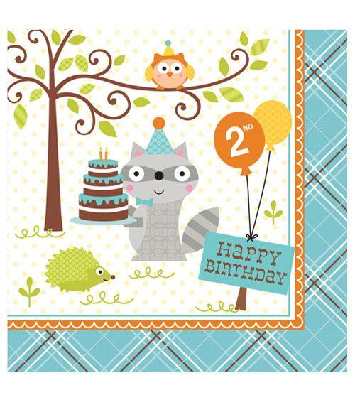 Süße Waldtier-Servietten für den 2. Geburtstag: 16 Servietten mit niedlichen Waschbären, Eulen und Igeln. Größe: 33 x 33 cm.