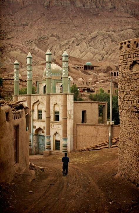 Masjid in Xinjiang, China. This village outside of Turpan is called Tuyok Valley (Chinese: 吐峪沟 Tŭyùgōu) and is not on most itineraries. I visited-it's beautiful. More info at Far West China - http://www.farwestchina.com/2013/04/traveling-to-turpans-tuyoq-valley.html