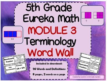 Display these terms in your classroom to provide a place for students to reference terms for 5th Grade Eureka Math / Engage NY Math Module 3. Eight pages of terms containing two on a page. Common Core aligned.
