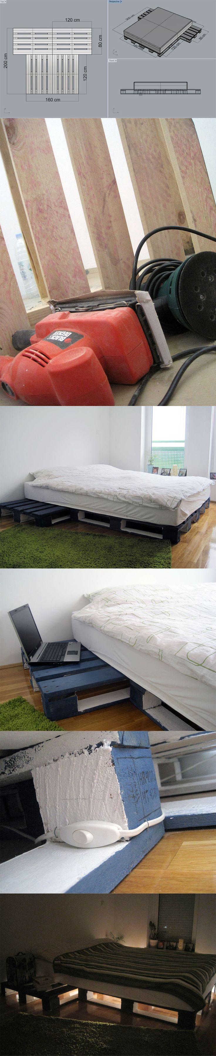 Diy pallet double bed - Cama Hecha Con Pal S